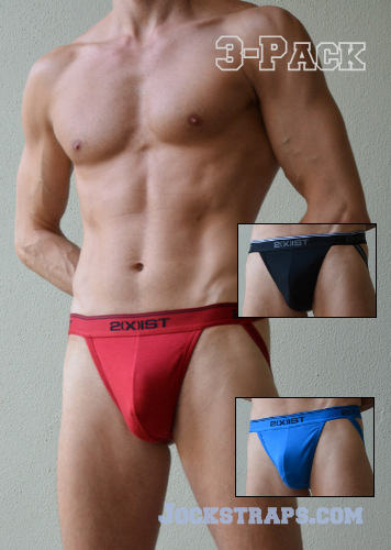 3-Pack of 2Xist Jockstraps in colors Red, Black and Blue